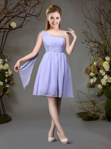 Lavender Empire Chiffon One Shoulder Sleeveless Beading and Ruching Mini Length Zipper Bridesmaid Dresses