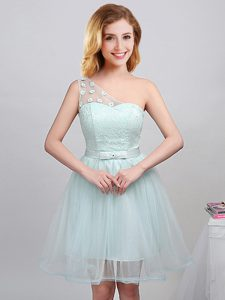 Dynamic One Shoulder Sleeveless Lace Up Mini Length Lace and Appliques and Belt Bridesmaid Gown