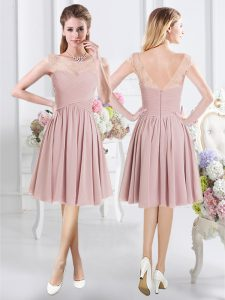 Most Popular Scoop Cap Sleeves Knee Length Zipper Wedding Party Dress Pink for Prom and Party and Wedding Party with Lace and Ruching
