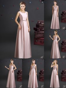 Sweet Square Pink Zipper Wedding Guest Dresses Bowknot Sleeveless Floor Length