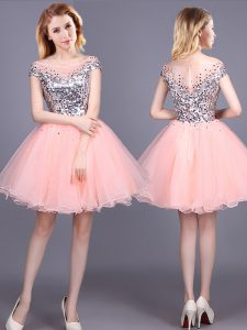 Tulle Short Sleeves Mini Length Bridesmaids Dress and Sequins