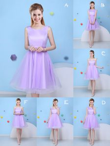A-line Bridesmaids Dress Lavender Scoop Tulle Sleeveless Knee Length Lace Up