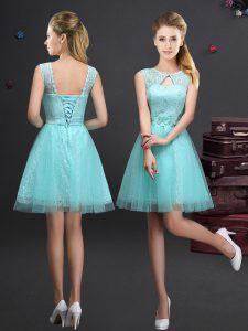 Fantastic Scoop Sleeveless Lace and Appliques and Belt Lace Up Bridesmaid Dresses