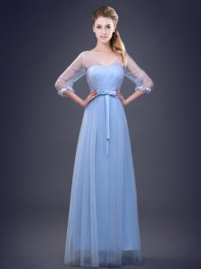 V-neck Half Sleeves Lace Up Bridesmaid Dress Light Blue Tulle