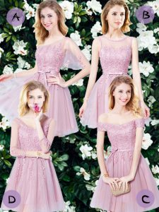 Pink Bridesmaid Dresses Prom and Party and Wedding Party with Appliques and Belt Sleeveless Lace Up