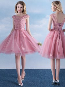 Sumptuous Knee Length Pink Bridesmaid Dress Scoop Cap Sleeves Lace Up