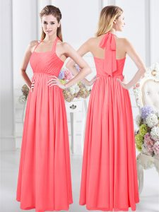 Custom Designed Halter Top Sleeveless Bridesmaid Gown Floor Length Ruching Watermelon Red Chiffon