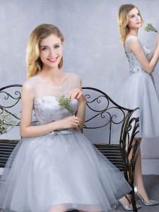Custom Fit Grey Lace Up Scoop Lace and Appliques and Belt Bridesmaids Dress Tulle Sleeveless