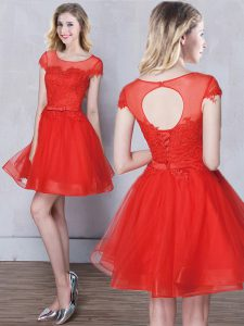 Luxury Scoop Red Lace Up Wedding Party Dress Appliques and Belt Short Sleeves Mini Length