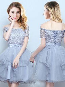 Mini Length Grey Bridesmaid Dresses Off The Shoulder Short Sleeves Lace Up