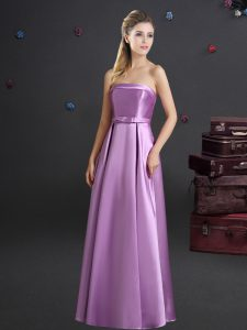 Strapless Sleeveless Bridesmaid Gown Floor Length Bowknot Lilac Elastic Woven Satin
