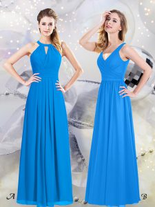 Halter Top Baby Blue Sleeveless Ruching Floor Length Wedding Party Dress