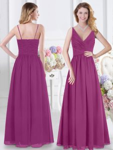 Sleeveless Chiffon Floor Length Zipper Bridesmaid Gown in Fuchsia with Ruching