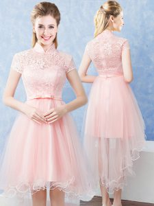 Best Selling Baby Pink Short Sleeves Lace and Belt High Low Bridesmaid Gown