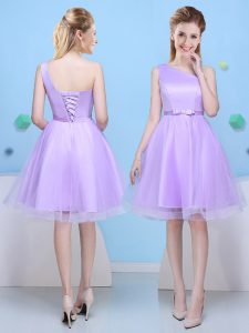 Attractive One Shoulder Sleeveless Tulle Wedding Party Dress Bowknot Lace Up