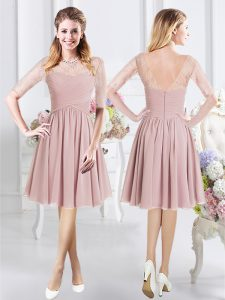 Scoop Pink A-line Lace and Ruching Bridesmaid Dresses Zipper Chiffon Half Sleeves Knee Length