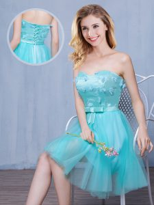 Low Price Aqua Blue Tulle Lace Up Sweetheart Sleeveless Knee Length Wedding Guest Dresses Lace and Appliques and Bowknot