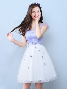 High Quality White Cap Sleeves Tulle Lace Up Bridesmaid Dresses for Prom and Party