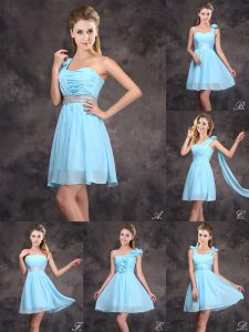Sequins Baby Blue Sleeveless Chiffon Zipper Wedding Party Dress for Prom and Party and Wedding Party
