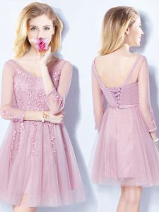 Sleeveless Tulle Mini Length Lace Up Wedding Guest Dresses in Pink with Appliques and Belt
