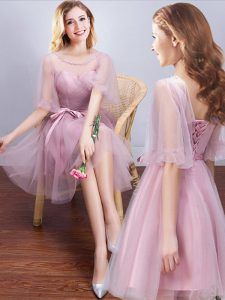 Scoop Half Sleeves Tulle Bridesmaid Dress Ruching and Bowknot Lace Up