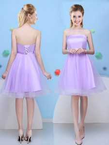 Smart Lavender Sleeveless Knee Length Bowknot Lace Up Wedding Party Dress