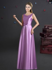 Empire Bridesmaid Gown Lilac Straps Elastic Woven Satin Sleeveless Floor Length Zipper