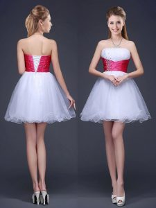 Mini Length Lace Up Bridesmaids Dress White for Prom and Party with Beading and Ruching and Belt