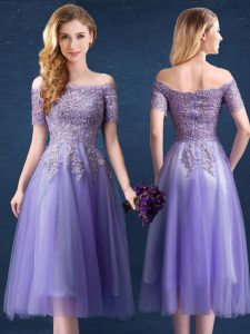 Top Selling Off the Shoulder Lavender Short Sleeves Beading and Lace Tea Length Wedding Guest Dresses