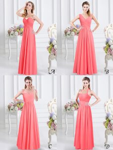 Luxury Sleeveless Chiffon Floor Length Zipper Bridesmaids Dress in Watermelon Red with Lace and Ruching