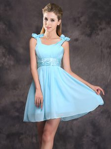 Sexy Straps Sleeveless Mini Length Ruching and Bowknot Zipper Bridesmaids Dress with Baby Blue