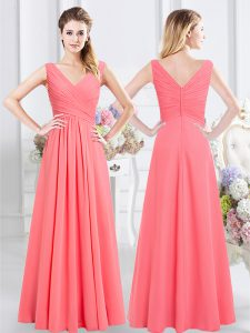 Floor Length Watermelon Red Bridesmaid Dress Chiffon Sleeveless Ruching