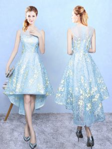 Extravagant Sleeveless High Low Embroidery Zipper Bridesmaid Dresses with Aqua Blue
