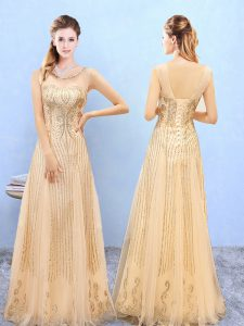 Pretty Gold Sleeveless Beading and Appliques Floor Length Bridesmaid Dresses