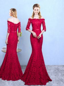 Wine Red Half Sleeves Lace Lace Up Bridesmaid Gown for Prom and Party and Wedding Party