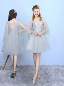 Knee Length Empire Half Sleeves Silver Bridesmaid Gown Lace Up