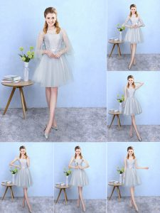 Colorful Silver Empire Tulle V-neck Sleeveless Lace Knee Length Lace Up Wedding Party Dress
