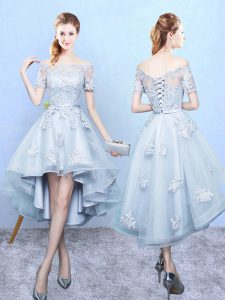 Light Blue A-line Lace Wedding Party Dress Lace Up Tulle Short Sleeves High Low