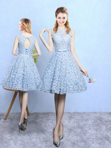 Pretty Scoop Sleeveless Bridesmaid Dresses Knee Length Belt Light Blue Printed