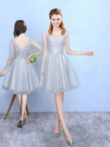 Silver Half Sleeves Knee Length Lace Lace Up Bridesmaid Gown