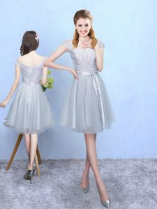 Suitable Silver Lace Up V-neck Lace Wedding Party Dress Tulle Cap Sleeves