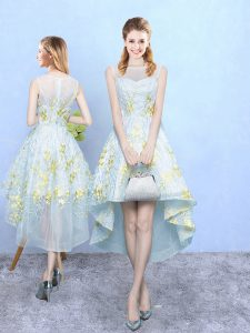Most Popular Apple Green Sleeveless High Low Appliques and Pattern Zipper Bridesmaid Dresses