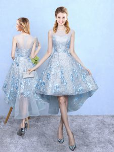 Decent Tulle and Printed Scoop Sleeveless Zipper Appliques Wedding Party Dress in Light Blue