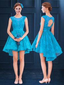 Modest Baby Blue Lace Up Scoop Lace Bridesmaid Dress Satin and Lace Sleeveless