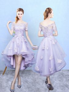 High End Lavender Lace Up Bridesmaid Dresses Lace Short Sleeves High Low