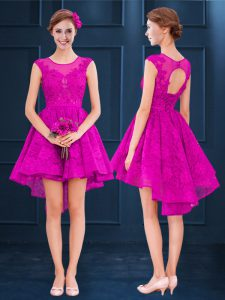 Fuchsia Satin and Tulle Lace Up Wedding Guest Dresses Sleeveless High Low Lace and Belt