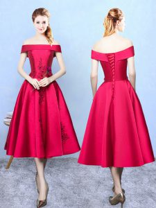 Captivating Wine Red Cap Sleeves Tea Length Appliques Lace Up Bridesmaid Dresses
