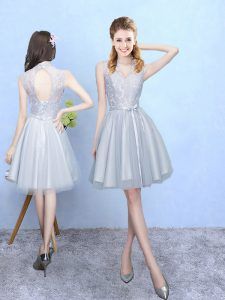 V-neck Sleeveless Tulle Wedding Party Dress Lace Lace Up