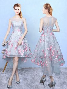 Discount Multi-color Sleeveless Embroidery High Low Wedding Guest Dresses