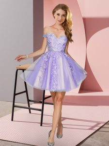 Mini Length Zipper Bridesmaid Gown Lavender for Prom and Party and Wedding Party with Appliques